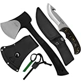Yes4All Camping Axe and Knife Kit with Sheath & Fire Starter – Survival Axe Hatchet/Camping Hatchet & Fixed Blade Tactical Knife (Knife H079)
