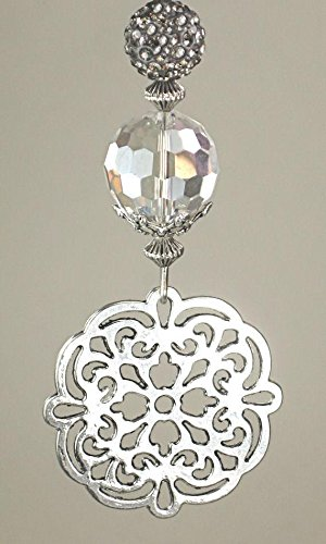 New Silvery Decorative Cut-out Medallion with Gunmetal Gray Rhinestone Ceiling Fan Pull Chain by Trace Ellements