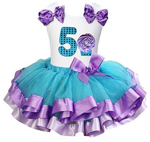Kirei Sui Girls Blue Lavender Satin Trimmed Tutu 5th Cupcake Birthday Party Dress Medium
