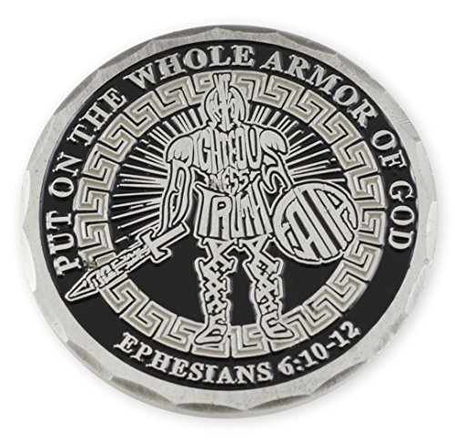 Put on the Whole Armor of God - Ephesians 6:10-12 - Righteousness, Truth & Faith - Black Enamel Challenge Coin (Silver, Copper, & Gold Tone Available) (Silver Tone)