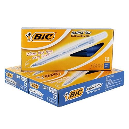 BIC Round Stic Ball Pen, Fine Point, 0.8 mm, Blue Ink, Pack of 36 (GSF11BE)