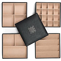 Jewelry Organizer Tray - 4 Stackable Trays & Lid with Mirror - 27 Slot Storage for Drawer, Dresser - Black