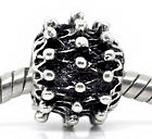 Glamorise Beads #13881 Sunburst Ball Pattern Metal Charm Spacer Sun Bead for Silver European Bracelet (Spacer Bead Sun)