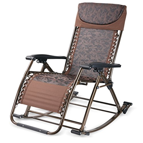 Dual Recliner Swing (Multifunction Rocking Chair Coffee Jacquard Wisdom Chair Comfortable Relax Health Chair Recliners Collapsible Swing Living Room Dual Use Chair Office)