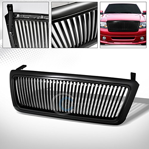 R&L Racing Matte Black Finished Vertical Style Hood Bumper Front Grill Grille Cover ABS 2004-2008 for Ford F150 (Vertical Bar Style Grille)
