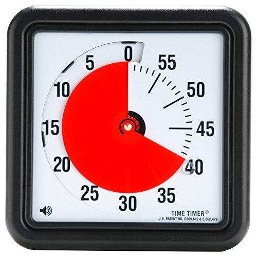 Time Timer Original 8 inch 60 Minute Visual Timer — For Kids, Classroom Learning, Elementary Teachers Desk Clock, Homeschool Study Tool and Office Meetings with Silent Operation (Black)