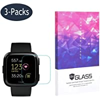 Tempered Glass Screen Protector BECROWM 9H Hardness Protective Glass for Fitbit Versa 2.5D Full Coverage High Definition Premium Clear 3 Packs Smartwatch Accessories