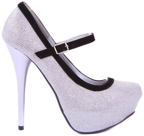 Trim Pump Platform (JJF Shoes Silver Neutral Sparkle Glitter Mary Jane Velvet Trim Evening Stiletto Heel Platform Pump-7)