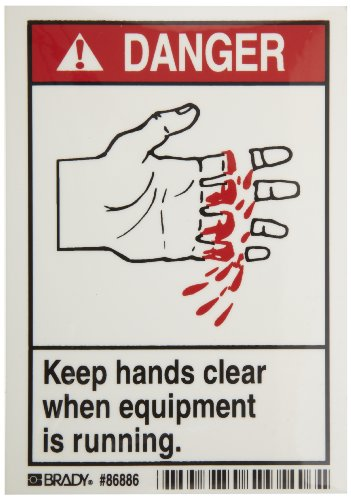"Brady 86886 3-1/2"" Width x 5"" Height, B-302 High Performance Polyester, Black and Red on White Machine and Equipment Labels, Header ""Danger"", Legend ""Keep Hands Clear When Equipment is Running"", Pack of 5"
