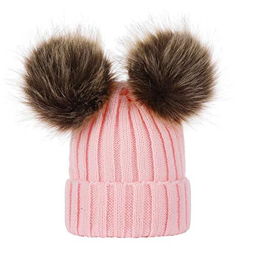 Longay Winter Children Baby Keep Warm Winter Fur Ball Knitted Wool Cap Hat (Pink)