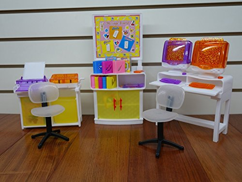 Barbie Size Dollhouse Furniture- Computer Room Play Set by Huaheng Toys