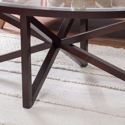 Oval Wood Coffee Table Canada: Tempered Glass Top Espresso Wood Veneer Frame Oval Coffee