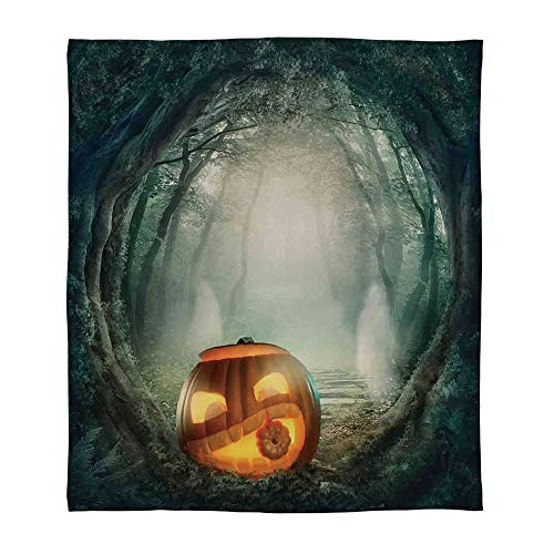 YOLIYANA Comfort Blanket,Halloween Decorations,for Sofa Travel Couch,Size Throw/Twin/Queen/King,Scary Halloween Pumpkin Enchanted Forest Mystic -