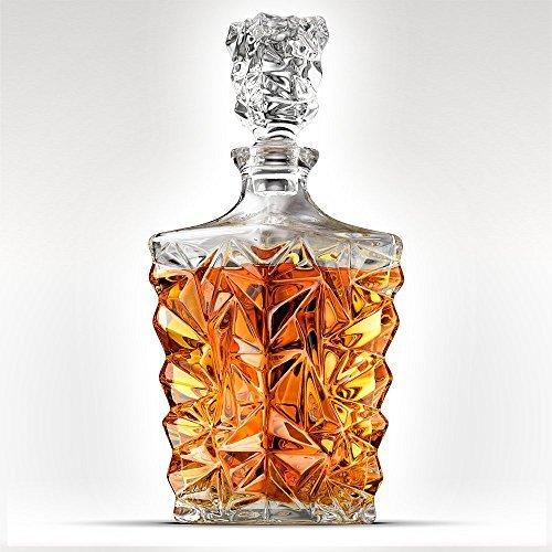 5-Piece Diamond Cut 1Decantador de Whisky. 4vasos y Scotch Decantador con Tapón 27oz/800ml–Único Elegante se...