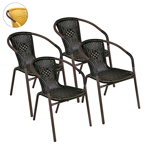 4er Set Bistrostuhl Stapelstuhl Balkonstuhl Poly Rattan Gartenstuhl Terrasse Stuhl braun