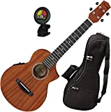 Ibanez UEWT5E Cutaway Style Mahogany Open Pore Natural Tenor Ukulele with Built In UK300T Pickup, Gig Bag, and Tuner