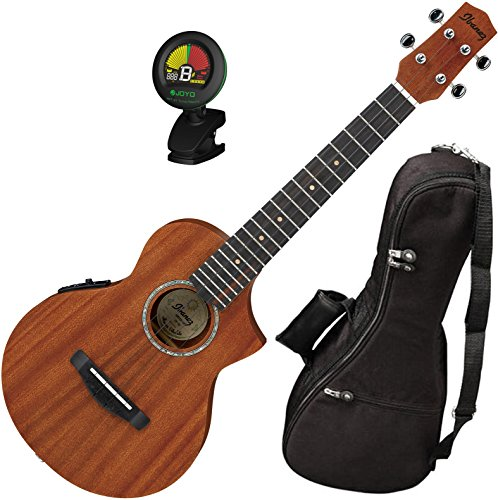 Ibanez UEWT5E Cutaway Style Mahogany Open Pore Natural Tenor Ukulele with Built In UK300T Pickup, Gig Bag, and Tuner by Ibanez