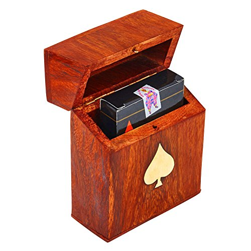 Unique Birthday Gift Ideas Handcrafted Classic Wooden Playing Card Holder Deck Box Storage Case Organizer With Premium Quality 'Ace' Playing Cards Anniversary Housewarming Gift Ideas For Him & Her