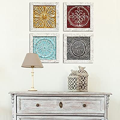 Stratton Home Decor S07709 Accent Tile Wall Art (Set of 4), Multicolor