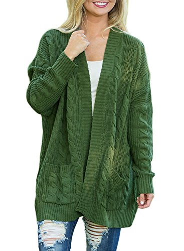 Dearlove Women's Oversized Long Sleeve Open Front Cable Knit Cardigan Sweater Casual Loose Coat Outwear with Pocket Solid Green M
