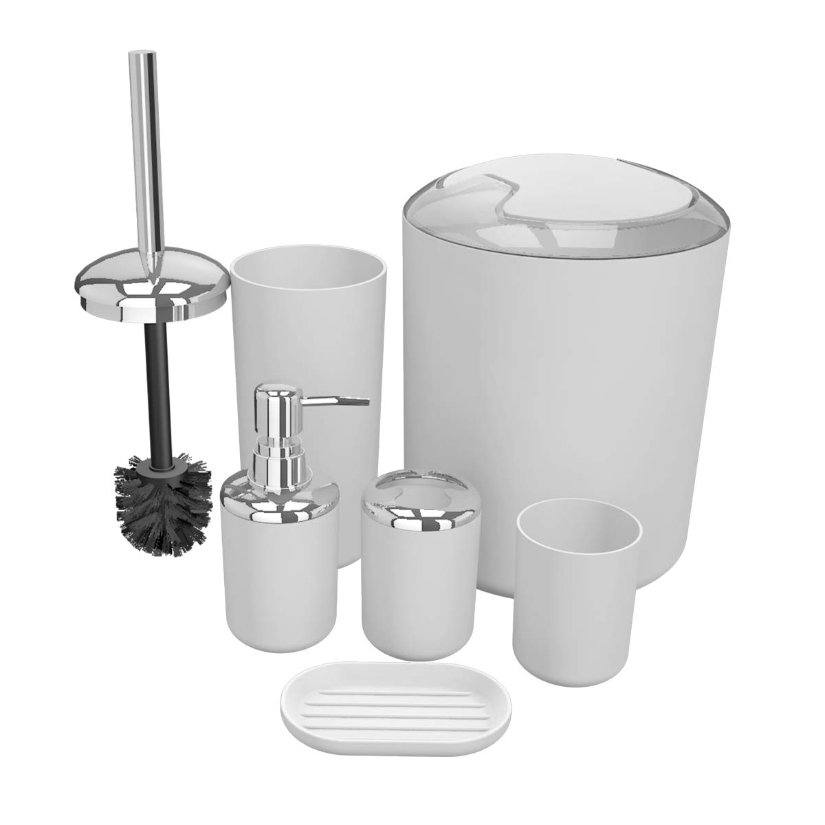 TEKITSFUN White Bathroom Accessories Set, 6 Pieces Plastic Gift Bath Accessory Set Luxury Ensemble Includes Toothbrush Holder,Toothbrush Cup,Soap Dispenser,Soap Dish,Toilet Brush Holder,Trash Can