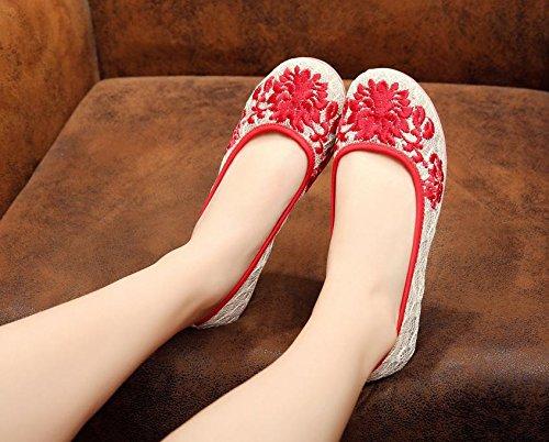 ricamati tendine moda pattini stile di Red femminili DESY comodo etnico biancheria scarpe unico 5vIqgwg
