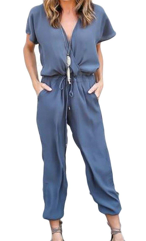 Gnao Womens Casual Deep V Neck Short Sleeve Drawstring Romper Jumpsuits