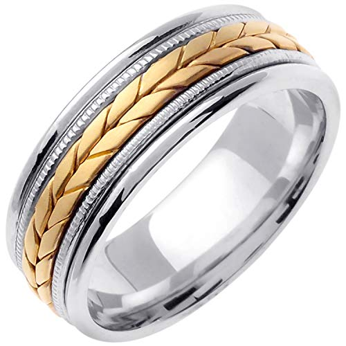14K Two Tone (White and Yellow) Gold Braided Fern Style Men's Comfort Fit Wedding Band (8mm) Size-13c1