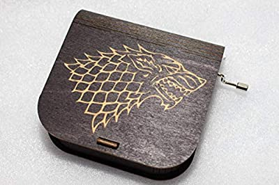 "Game Of Thrones Music Box - House Stark - Engraved Wooden Box -""Game Of Thrones Theme"" - Wolf Stark Lannister Dragon - Hand Crank Movement"