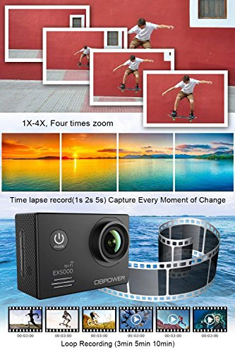 DBPOWER EX5000 Camera, 14MP 1080P Waterproof Cam 2 Inch LCD Screen, Degree Angle 98ft Underwater with 16 Accessories