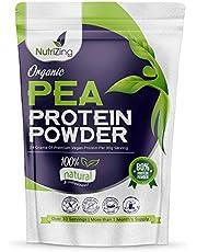 Poudre de protéines de pois bio de NutriZing - 80% de Protéine - Plus de 30 portions et 1 mois d'approvisionnement - pour les végétariens et les végétaliens - construire les muscles - 1Kg Organic