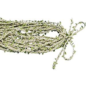 HOPEANT 66Ft Natural Jute Twine 7MM Creative Burlap Leaf Ribbon with Artificial Vine Green Leaves 48