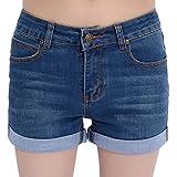 Chouyatou Women's Basic Stretched Mid-Rise Turn-up Cratched Denim Shorts (X-Large, Blue)