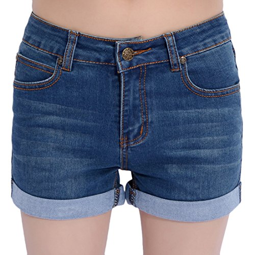 Basic 5 Pocket Denim Short (Chouyatou Women's Basic Stretched Mid-Rise Turn-Up Cratched Denim Shorts (X-Large,)