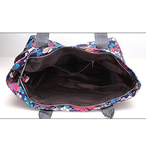 Womens Casual Oxford Bag Wasserdichte Printed Canvas Tasche Große Kapazität Schulter Tuch Tasche A