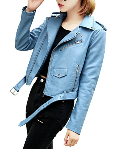 Casual In Down Motorcycle Con Vita Colletto Cappotto Turn Pelle Cintura Donna Zip Giacca Blu Outwear Pu Corta dC1xqd