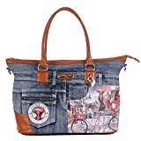 Nicole Lee Wanda Denim Print Overnighter with Laptop Compartment, Bicycle, One Size For Sale