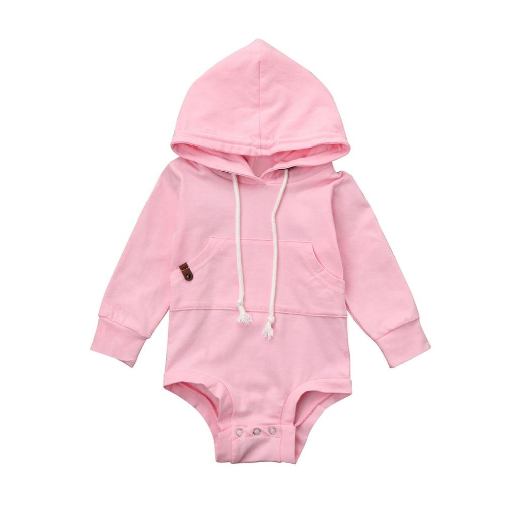 Baby Jumpsuit Clothes Boy Girl Solid Long Sleeve Hoodie Romper Outfit with Pocket