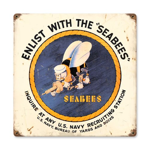 Past Time Signs HA017 Seabees Allied Military Vintage Metal Sign from Past Time Signs