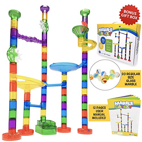 Marble Run Track Toy Set - Translucent Marble Maze Race Game Set By Marble Galaxy - Fun Educational STEM Building Construction Toys For Kids - 90 Sturdy Colorful Marbulous Pcs & Glass Marbles -