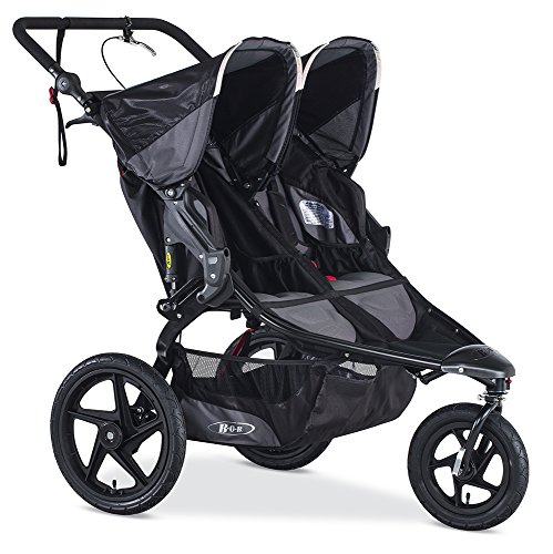 BOB Gear Revolution Pro Duallie Jogging Stroller – Up to 100 pounds – UPF 50 Canopy – Easy Fold – Adjustable Handlebar with Hand Brake, Black