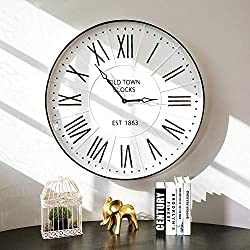 Glitzhome 31.5 Oversized Decorative Wall Clock Large Round Metal Enamel Rustic Clocks for Living Room