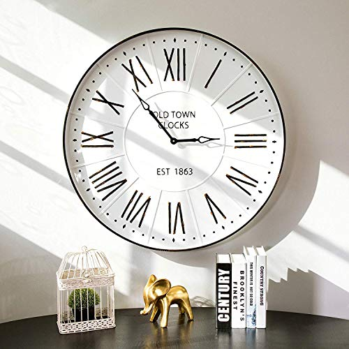 "Glitzhome 31.5"" Oversized Decorative Wall Clock Large Round Metal Enamel Rustic Clocks for Living Room"