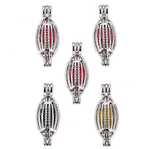 (Three Fish 10pcs DIY Football Pearl Cage Bright Silver Beads Cage Locket Pendant Jewelry Making Supplies-for Oyster Pearls, Essential Oil Diffuser, Fun Gifts. (Football))