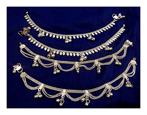 [Women lot 4 paisley silvertoned chain bells Anklet Ankle Bracelet Indian foot jewelry New] (Made To Measure Belly Dance Costumes)