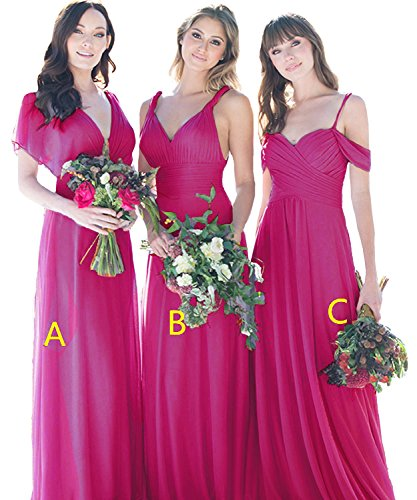 Maxi Dress Evening Neck V a Chiffon Prom Long Gowns Cdress Fuchsia Bridesmaid Dresses Wedding Party 5azq0x77w