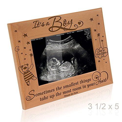 Kate Posh Baby Engraved Wood Picture Frame - Sometimes The Smallest Things take up The Most Room in Your Heart - Winnie The Pooh Sonogram Picture Frame, New Mom, New Dad (3 1/2 x 5 - It's a Boy) -