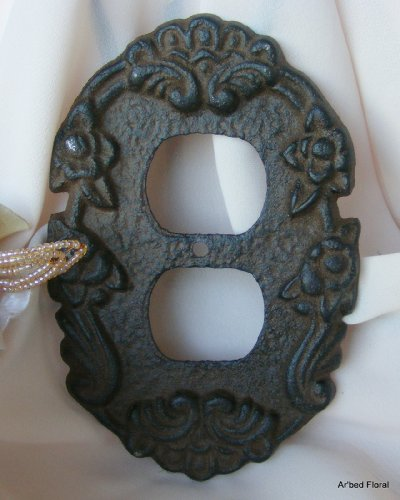 Floral Outlet Cover - American Mercantile Cast Iron Decorative Outlet Cover, Rustic Brown