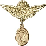 Gold Filled Baby Badge with St. Valentine of Rome Charm and Angel w/Wings Badge Pin 1 1/8 X 1 1/8 inches