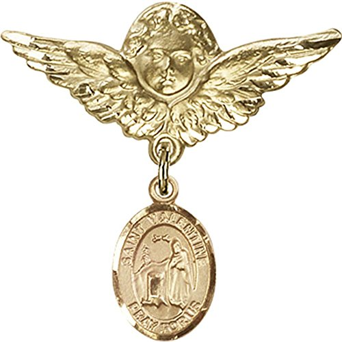 14kt Yellow Gold Baby Badge with St. Valentine of Rome Charm and Angel w/Wings Badge Pin 1 1/8 X 1 1/8 inches by Bonyak Jewelry Saint Medal Collection